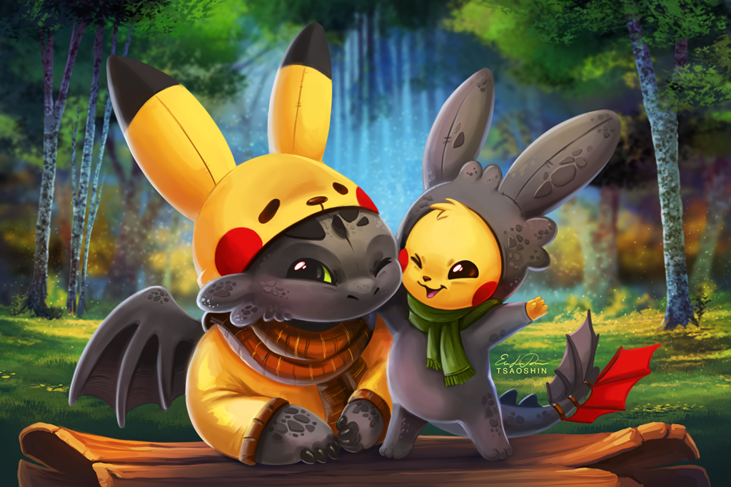 dragon and pikachu cute wallpapers