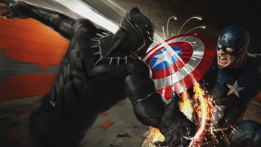 panther and captain america desktop wallpapers