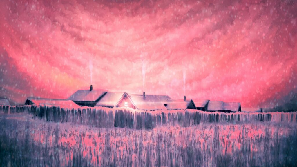 houses  pink wallpaper